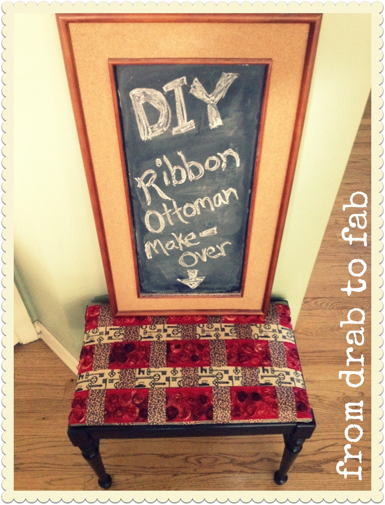 DIY Ribbon Ottoman Make-Over
