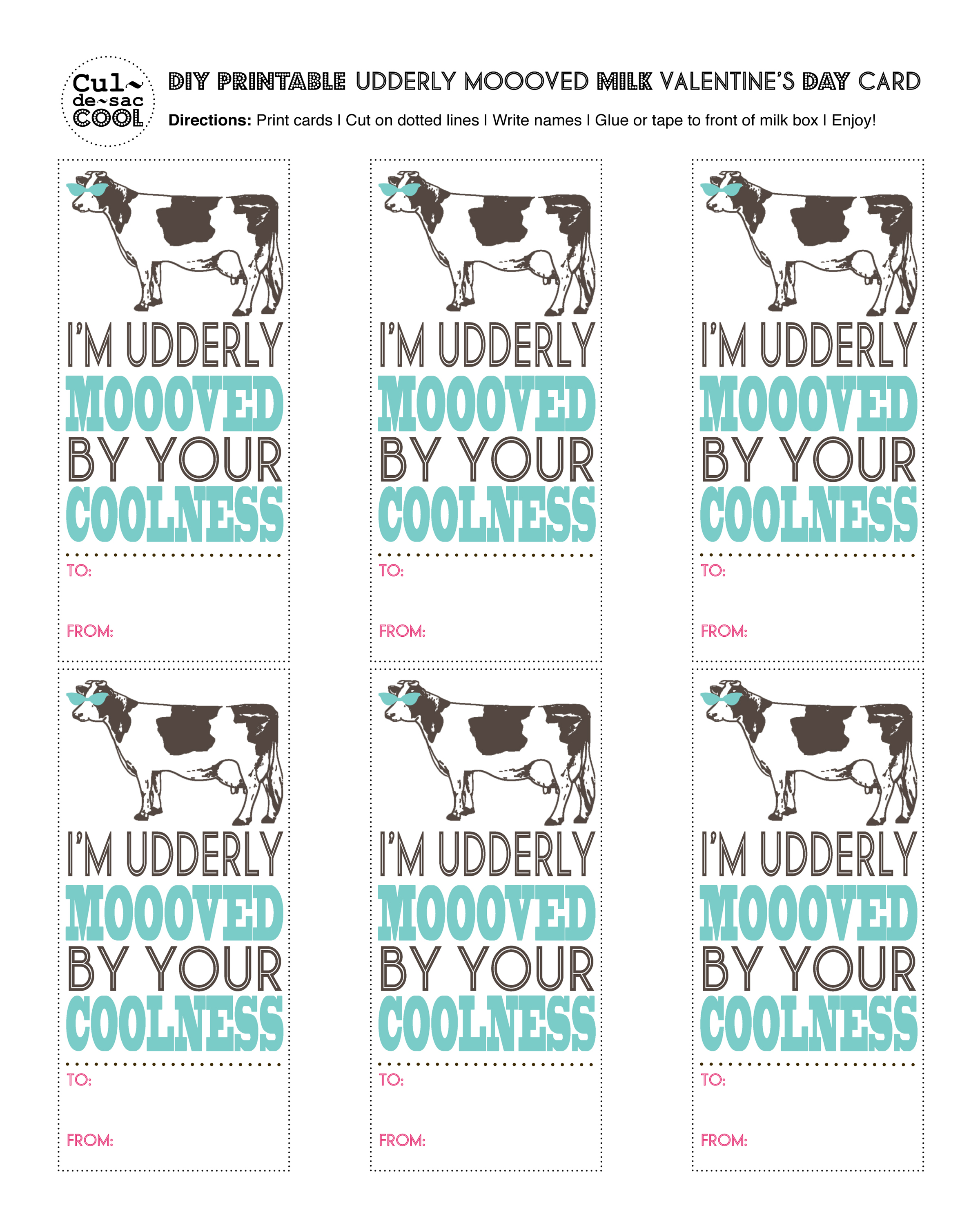Diy Printable Udderly Moooved Milk Valentine S Day Card