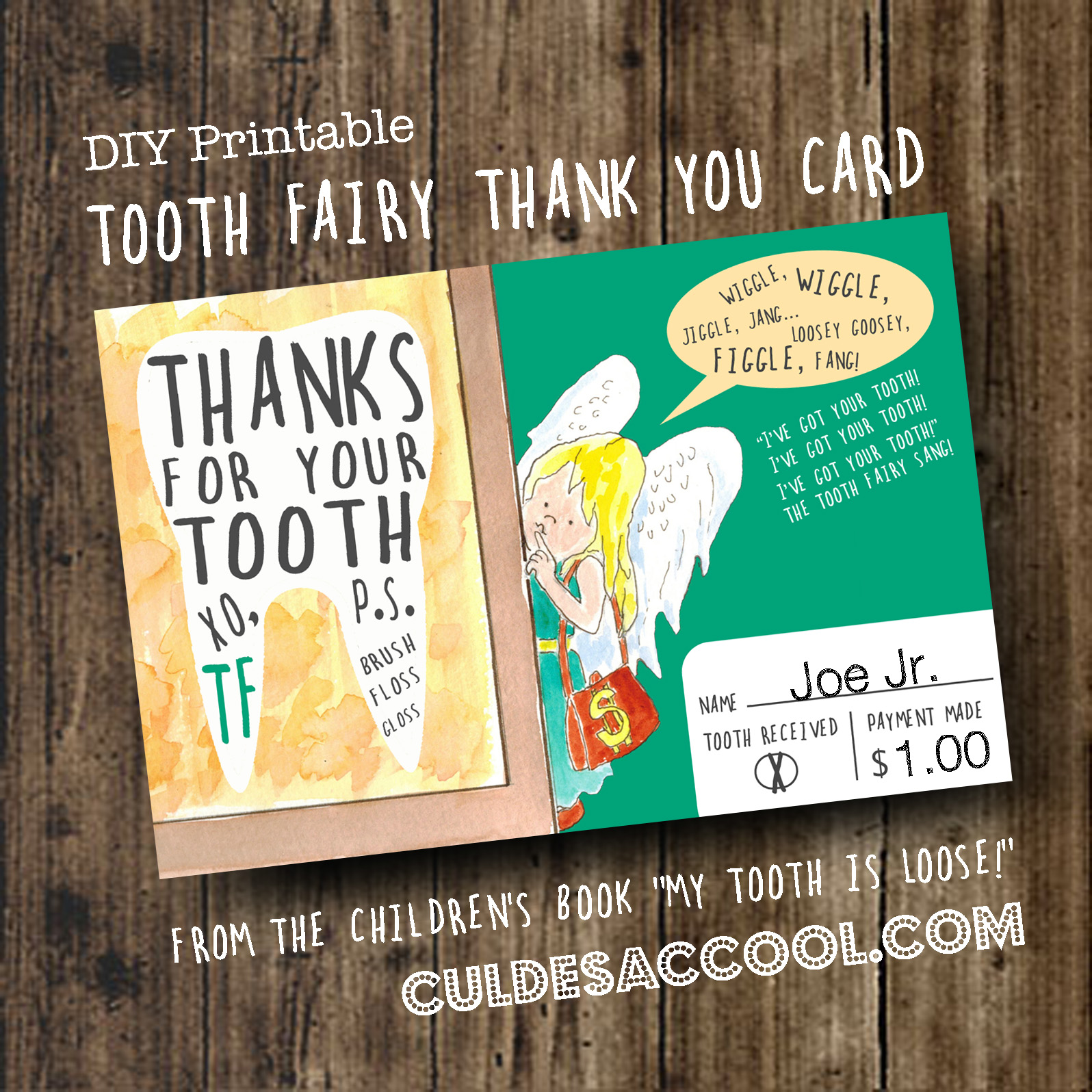 Diy Printable Tooth Fairy Thank You Card From The Children S Book
