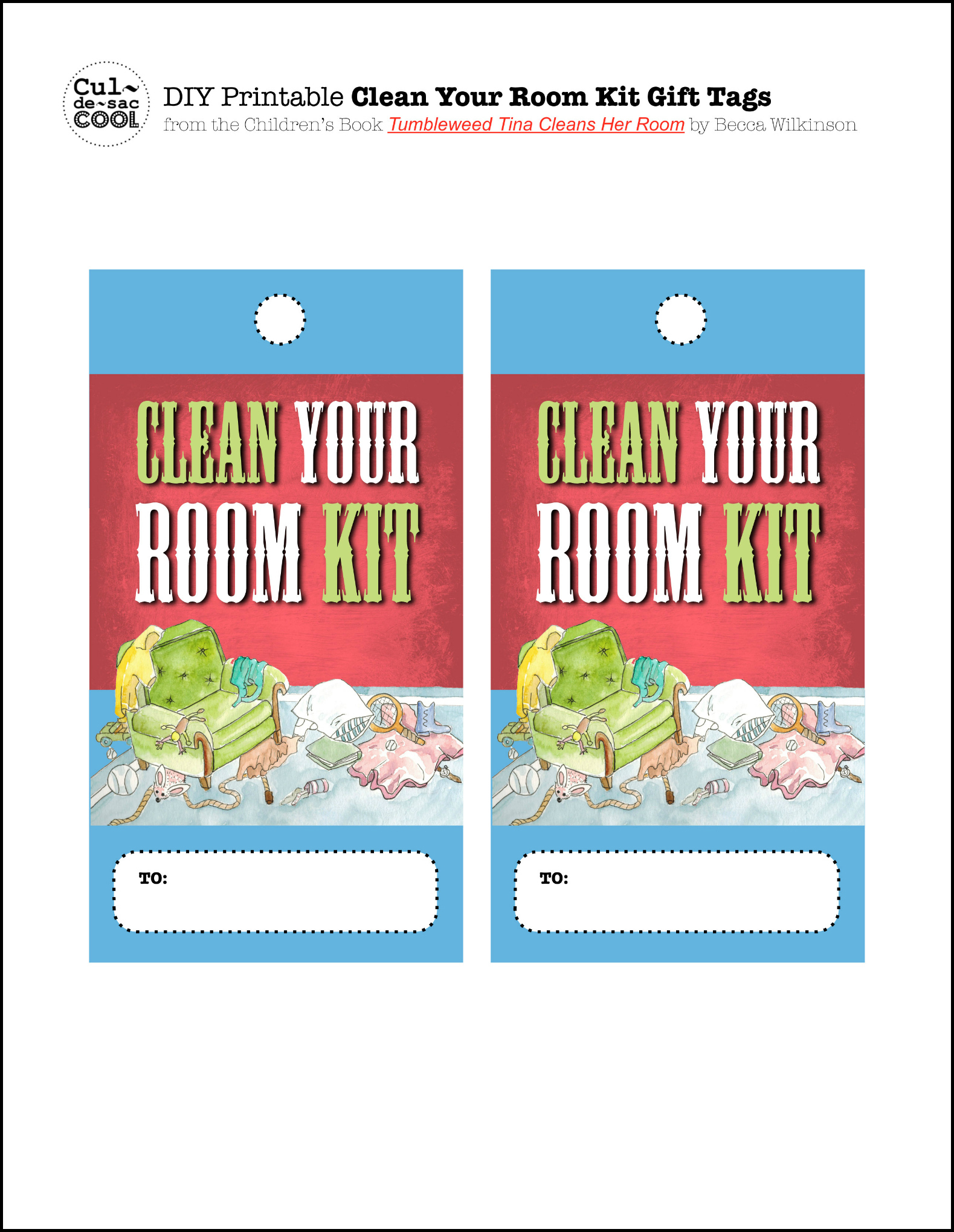clean your room kit with free printables