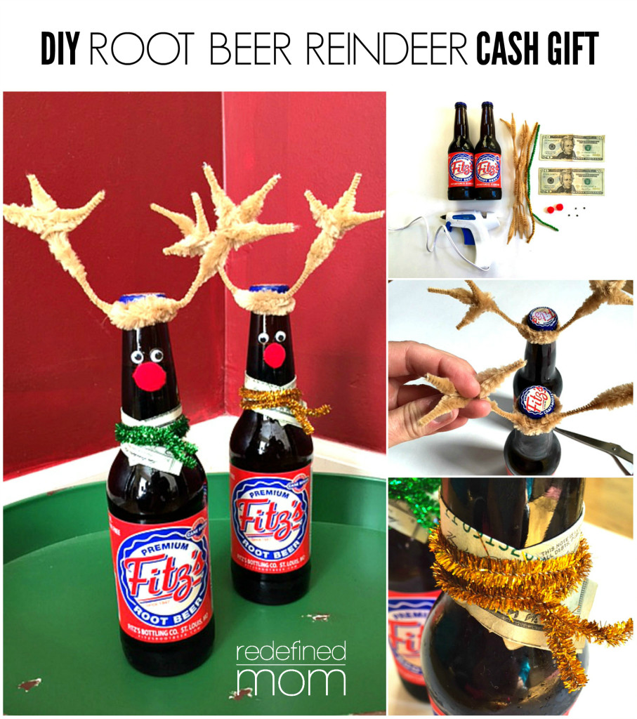 DIY Root Beer Reindeer Cash Gift Collage