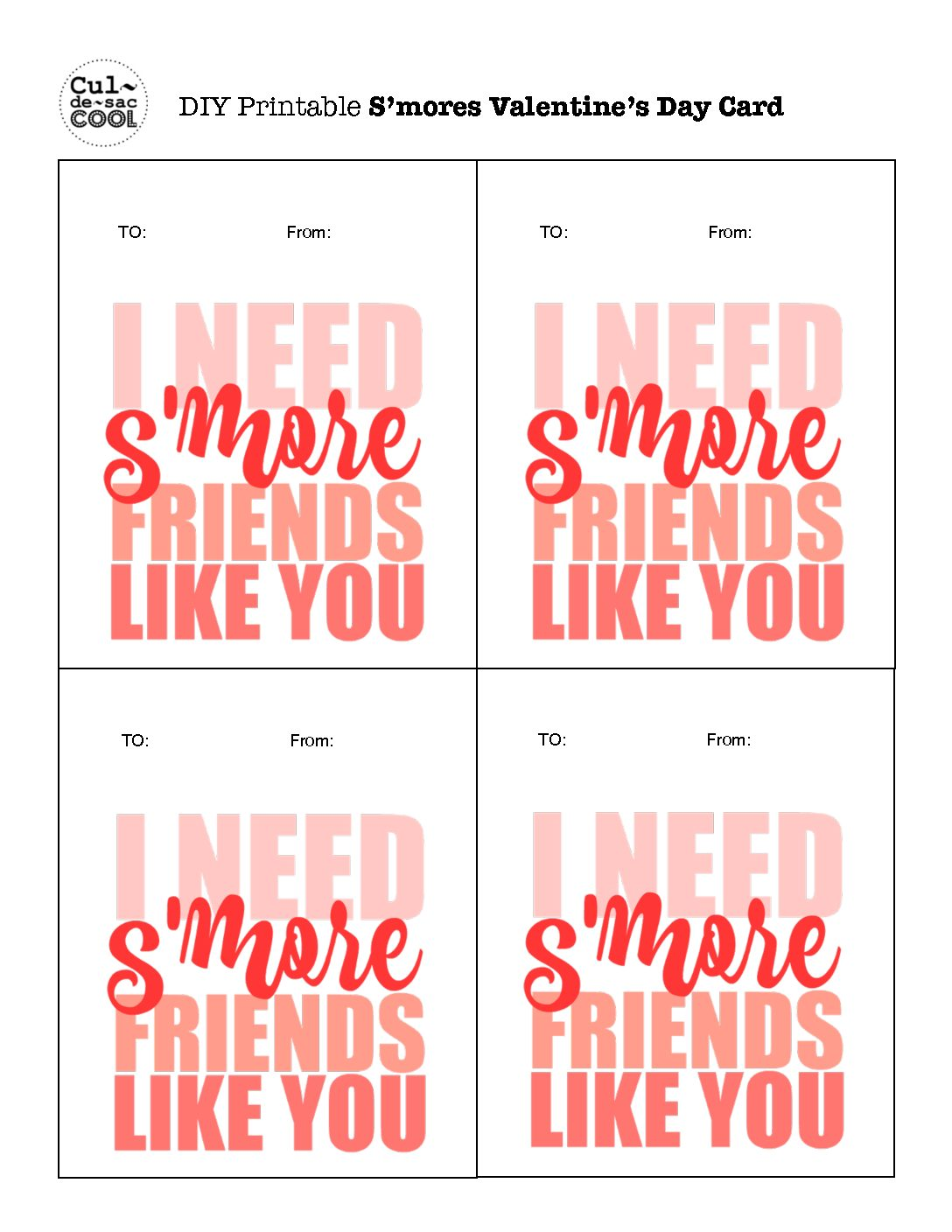 S Mores Valentine S Day Cards For School